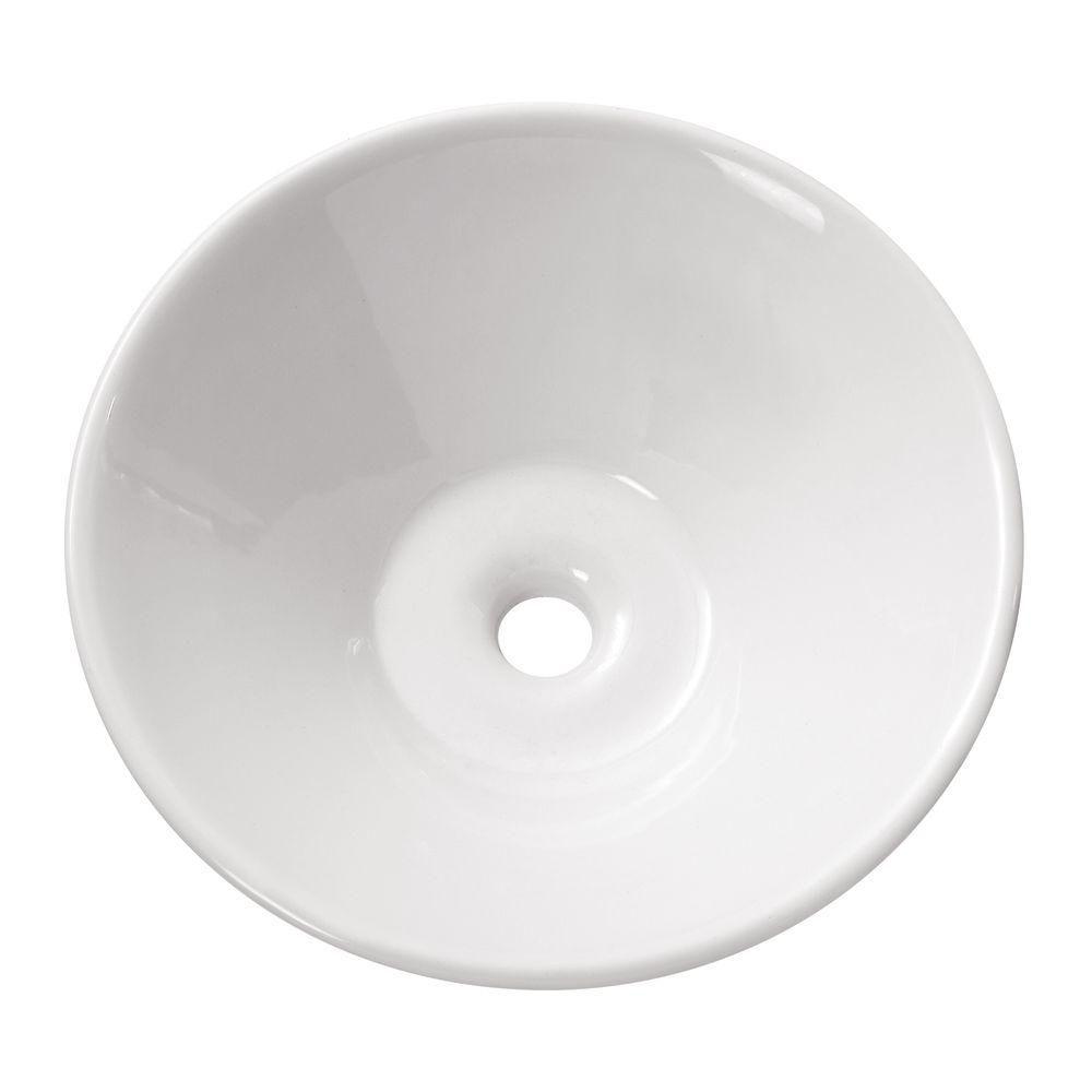 Vasque ronde de 16,5po en porcelaine vitrifiée blanche
