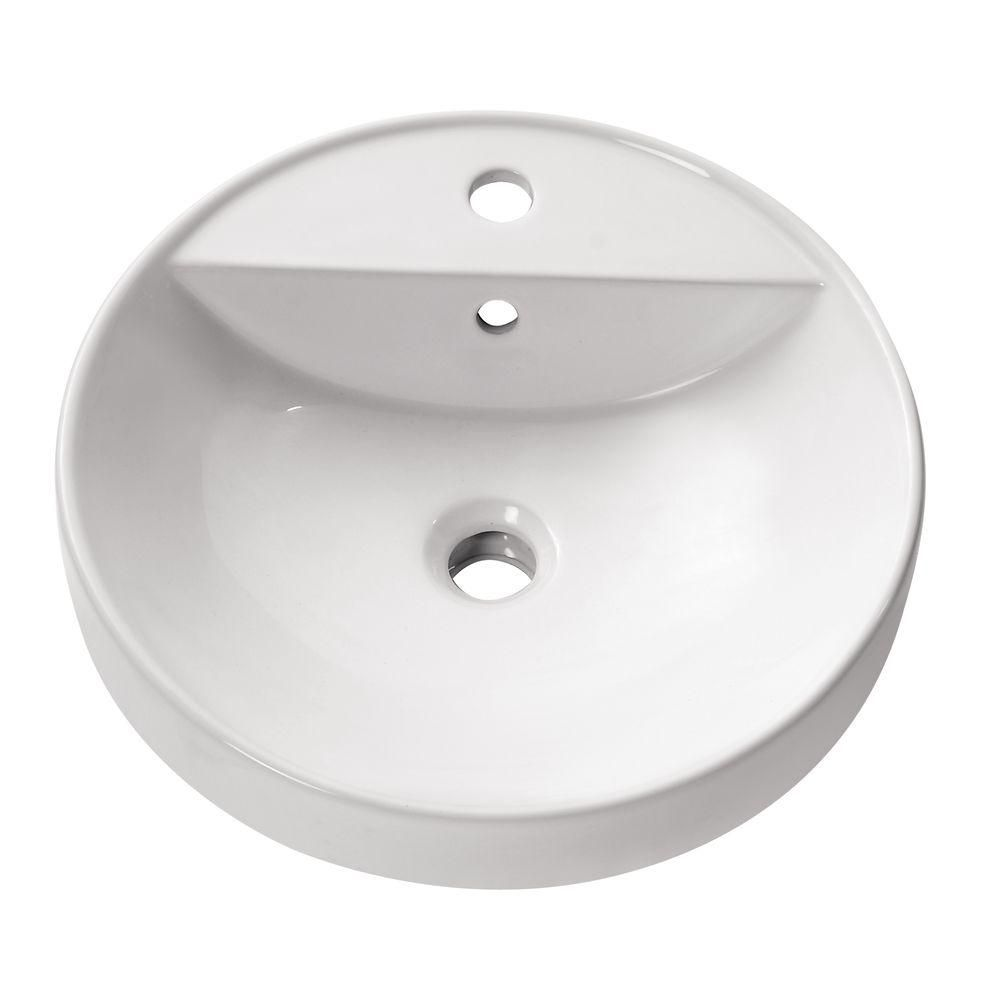 Semi Recessed 18-inch Round Vitreous China Vessel Sink in White