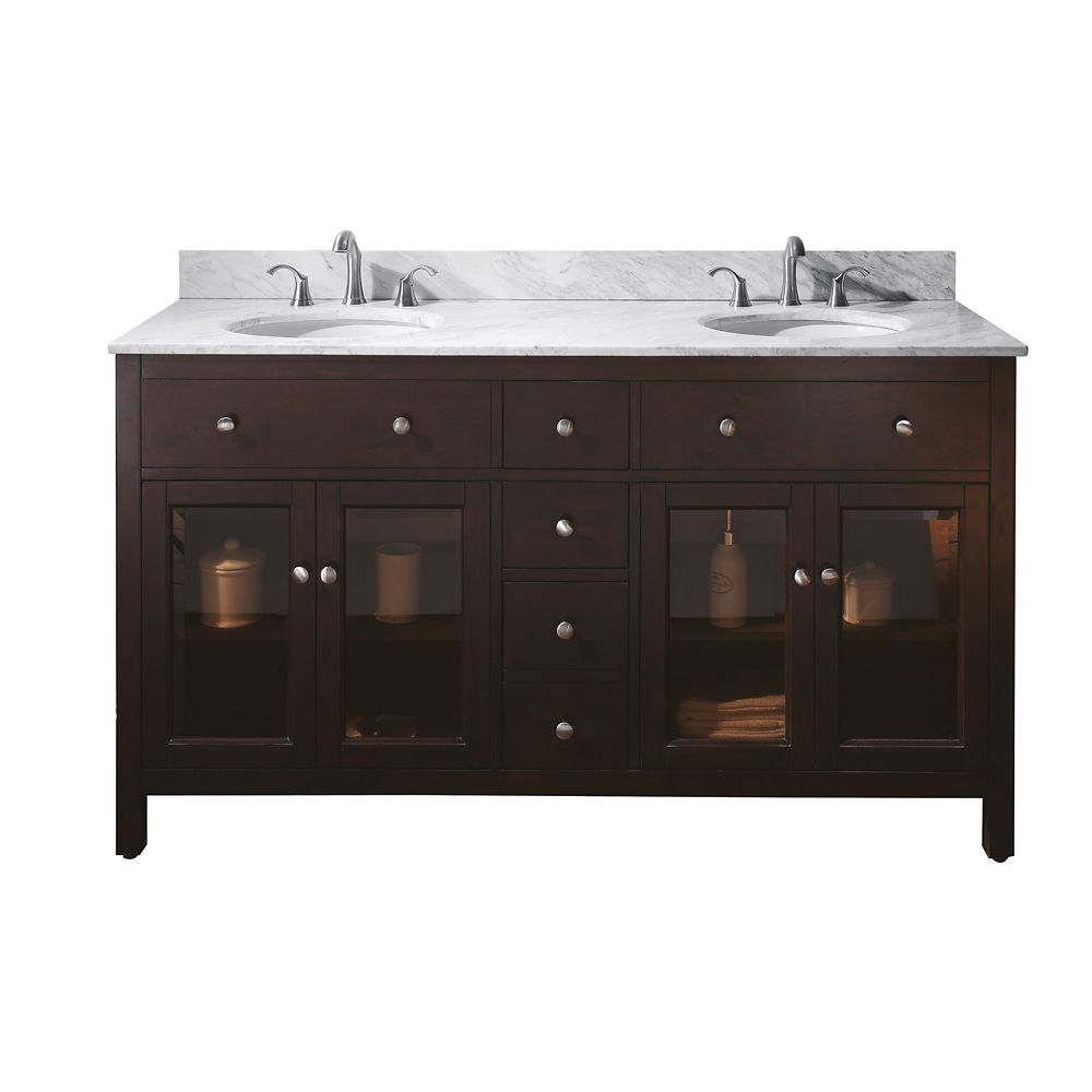 Lexington 60-inch W Double Vanity with Marble Top in Carrara White and Light Espresso Sink