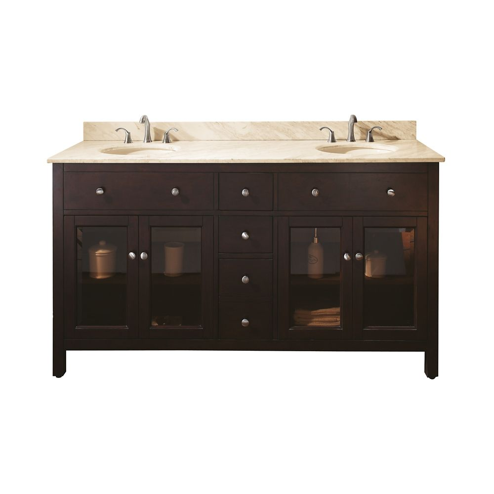 Lexington 60-inch W Double Vanity with Marble Top in Galala Beige and Light Espresso Sink