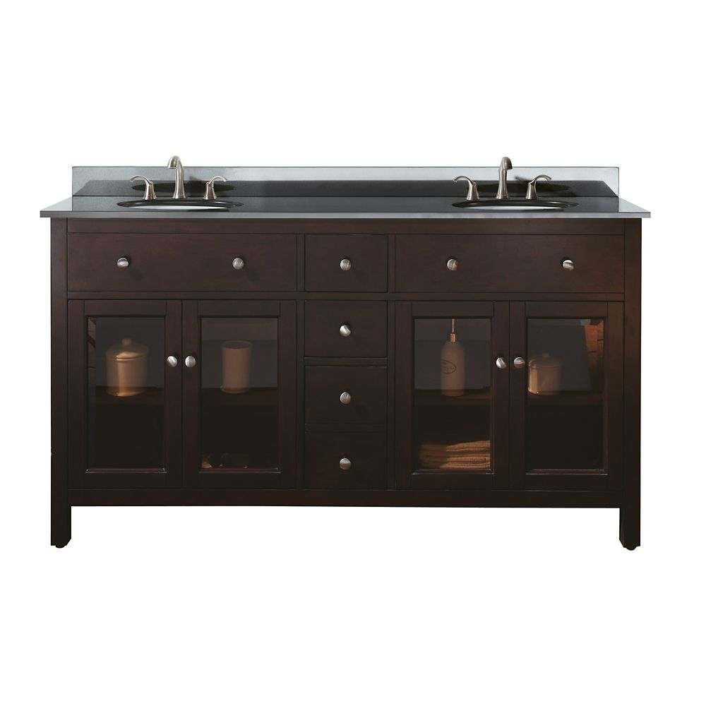 Lexington 60-inch W Double Vanity with Granite Top in Black and Light Espresso Sink