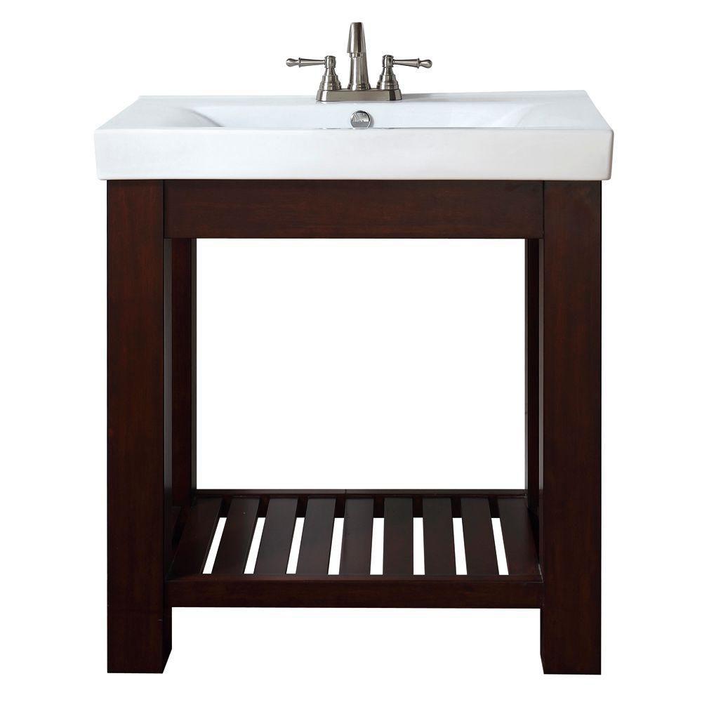 Meuble-lavabo Lexi de 30 po au fini espresso clair avec comptoir intégré en porcelaine vitrifiée ...