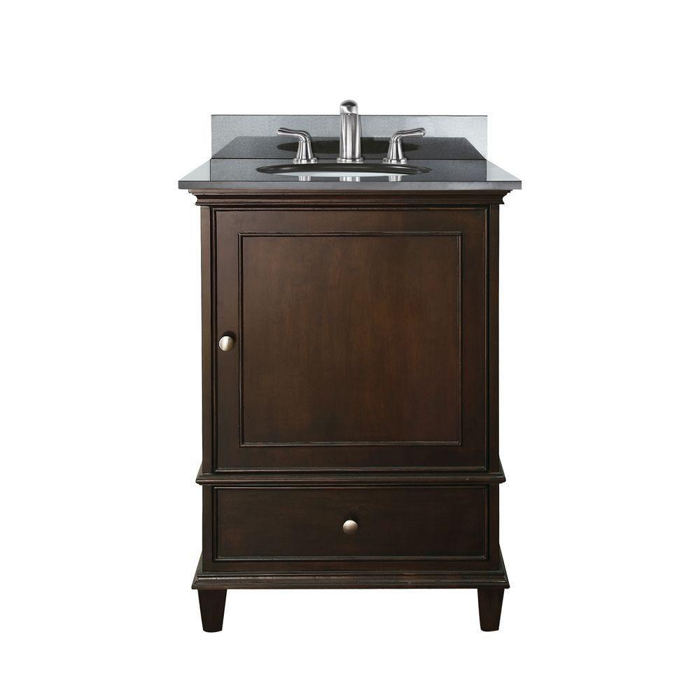 Meuble-lavabo Windsor de 24 po au fini noyer avec lavabo encastré et comptoir en granite noir (Ro...
