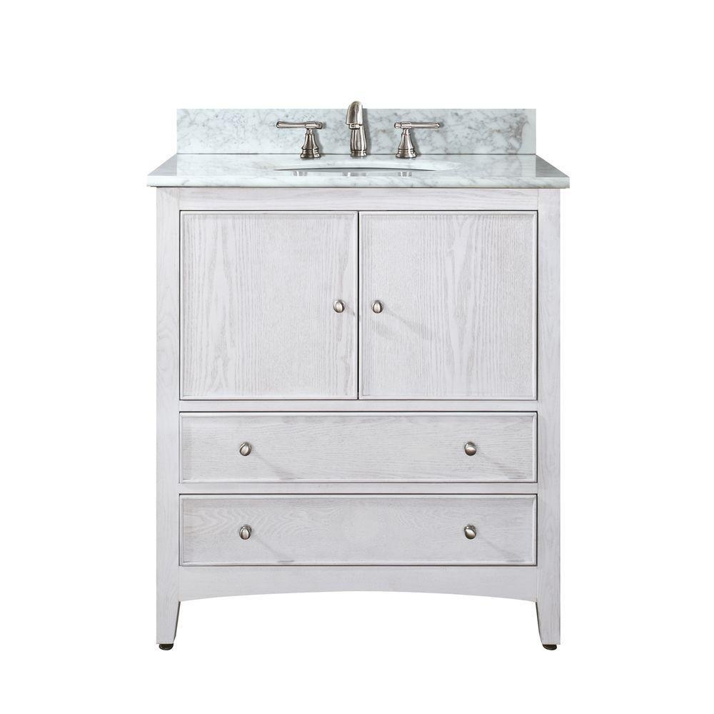 Meuble-lavabo Westwood de 30 po au fini blanchi avec lavabo et comptoir en marbre de Carrare blan...