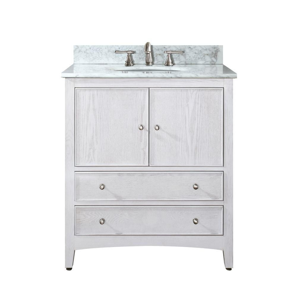 Westwood 30-inch W Vanity with Marble Top in Carrara White and White Washed Sink
