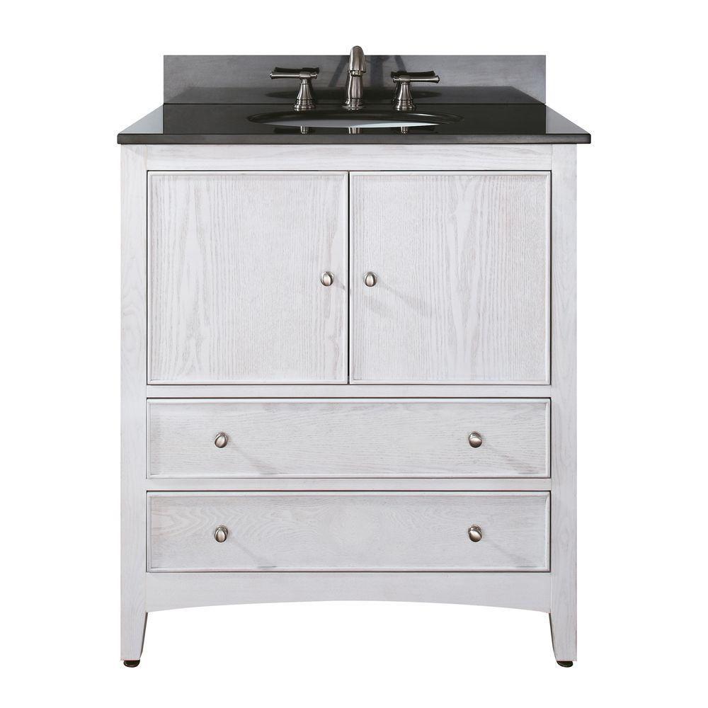 Meuble-lavabo Westwood de 30 po au fini blanchi avec lavabo et comptoir en granite noir (Robinet ...