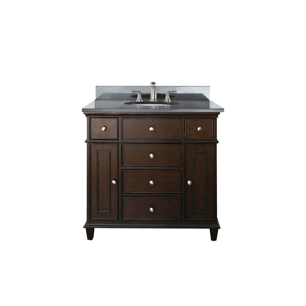 Windsor 36-inch W Vanity with Granite Top in Black and Walnut Sink