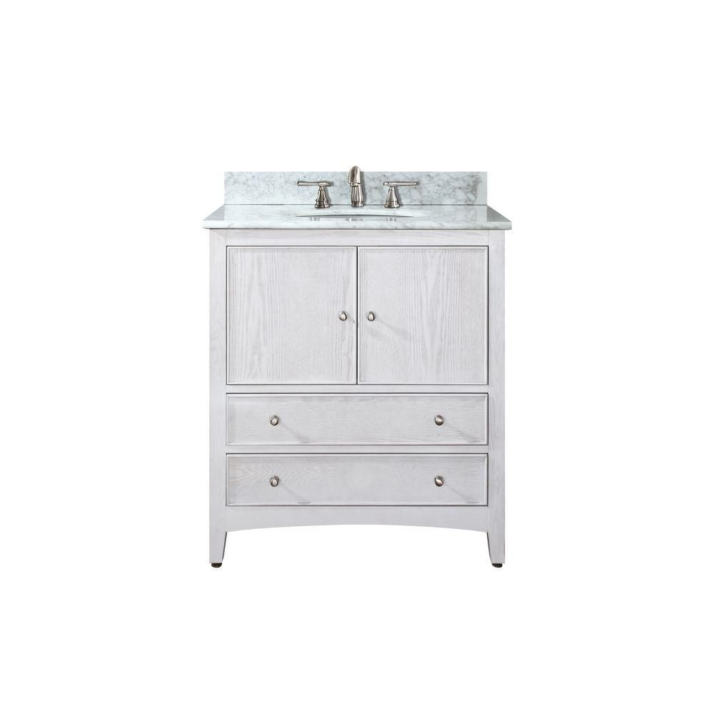 Avanity Westwood 24 Inch W Vanity In White Washed Finish With Marble Top In Carrara White The