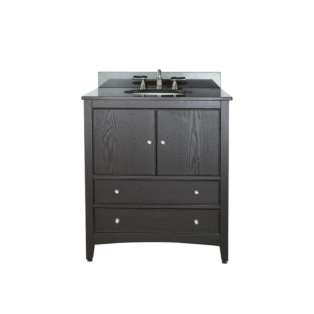 Westwood 30-inch W Vanity in Dark Ebony Finish with Granite Top in Black