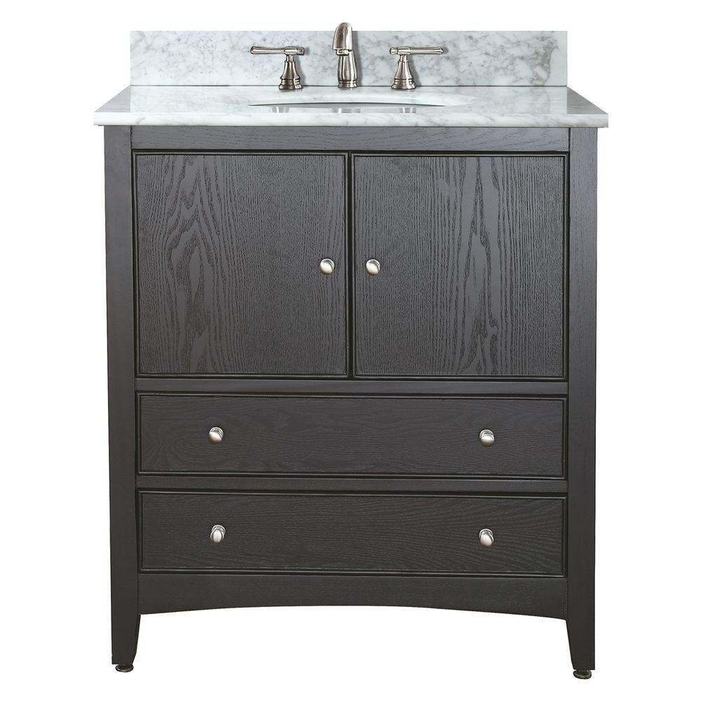 Westwood 30-inch W Vanity in Dark Ebony Finish with Marble Top in Carrara White