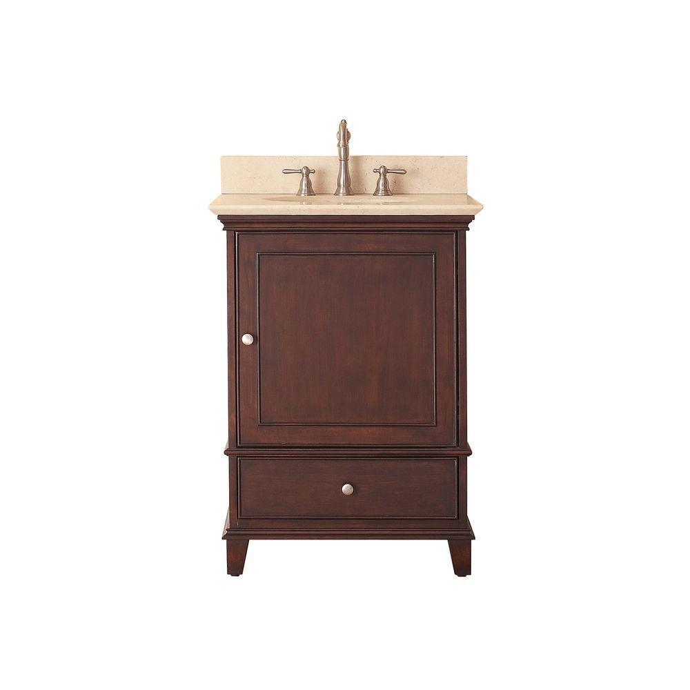 Meuble-lavabo Windsor de 24 po au fini noyer avec lavabo encastré et comptoir en marbre beige au ...