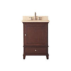 Avanity Windsor 25-inch W 1-Drawer Freestanding Vanity in Brown With Marble Top in Beige Tan