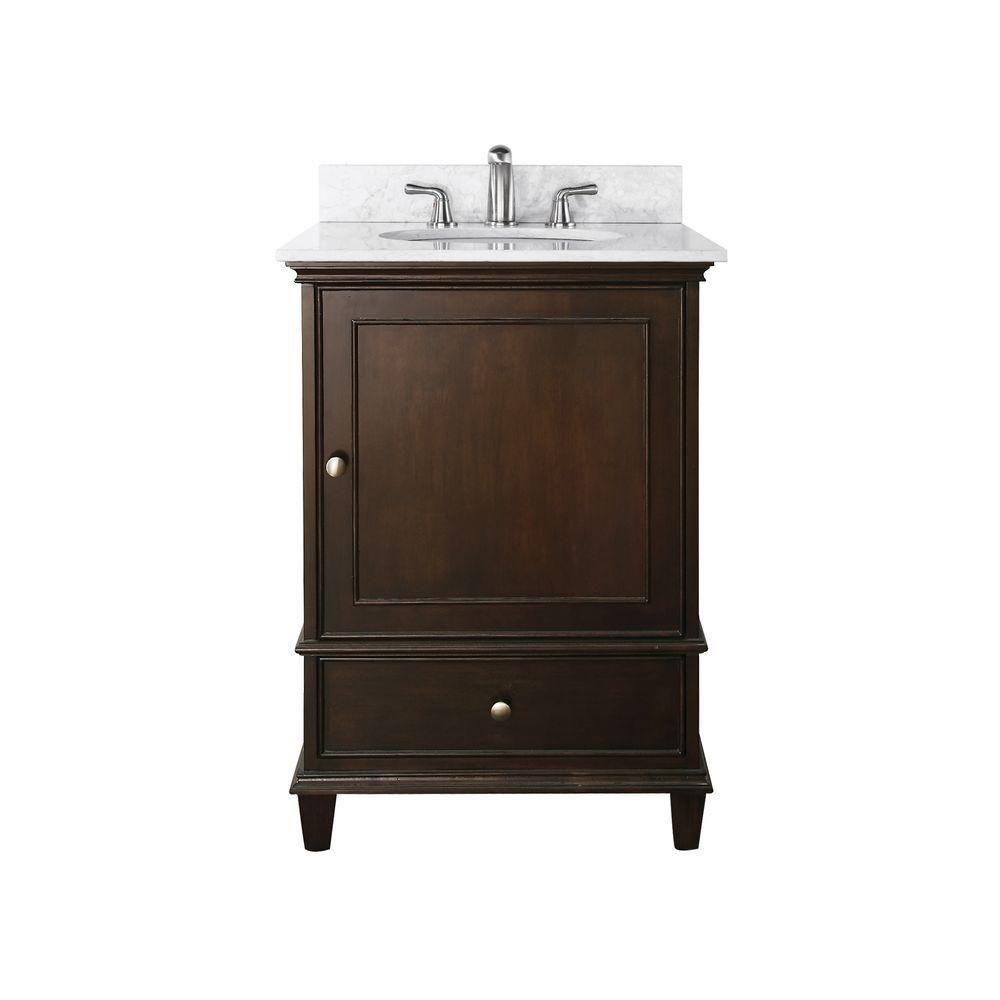 Meuble-lavabo Windsor de 24 po au fini noyer avec lavabo encastré et comptoir en marbre de Carrar...