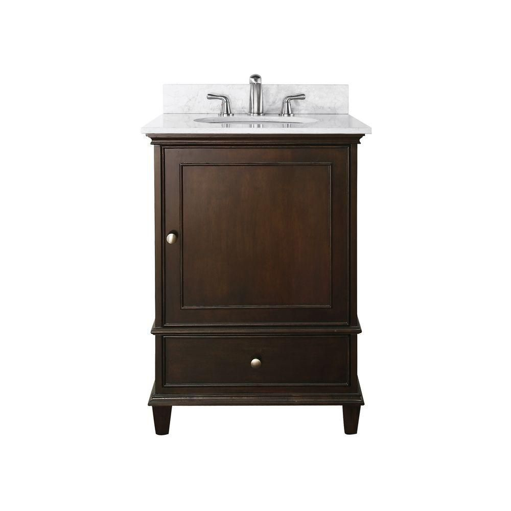 Windsor 24-inch W Vanity with Marble Top in Carrara White and Walnut Sink