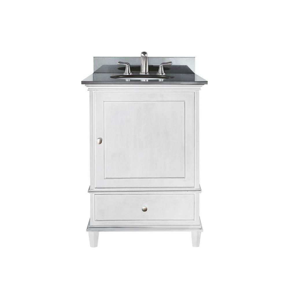 Avanity Windsor 25-inch W 1-Drawer Freestanding Vanity in White With Granite Top in Black
