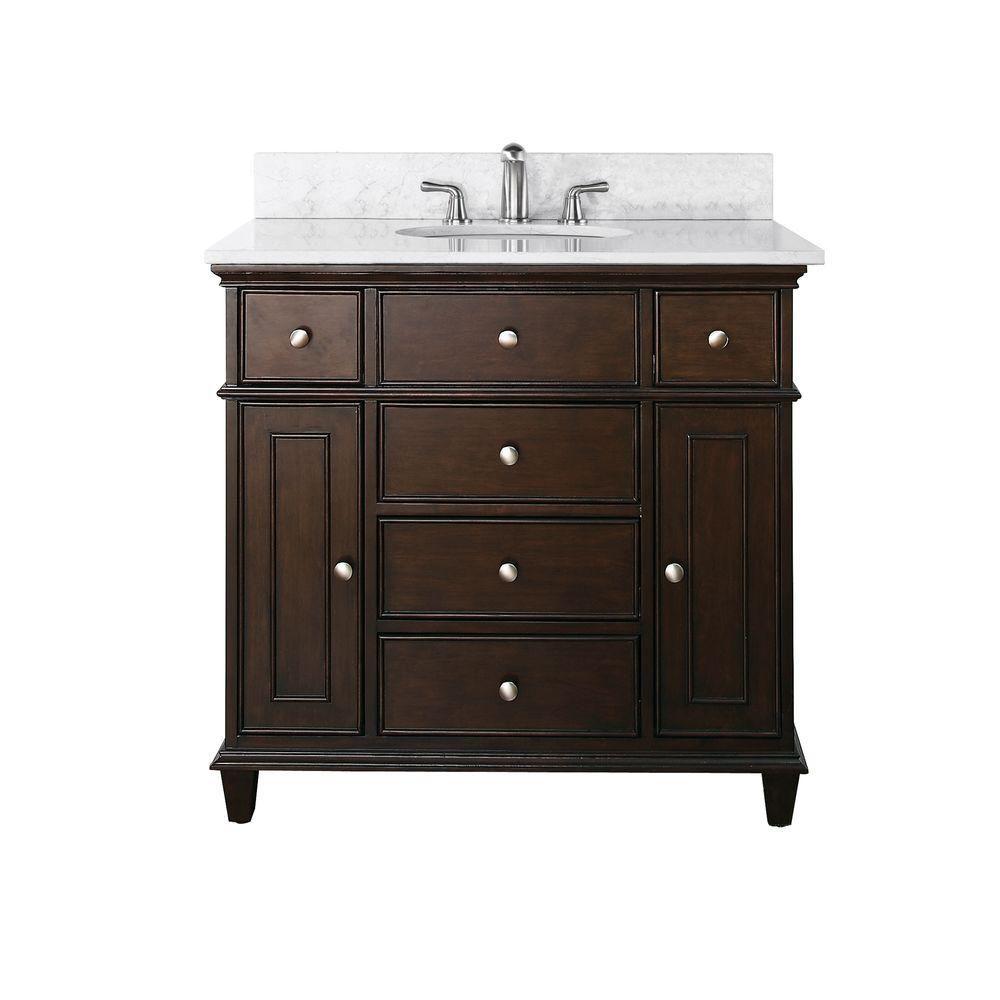 Meuble-lavabo Windsor de 36 po au fini noyer avec lavabo encastré et comptoir en marbre de Carrar...