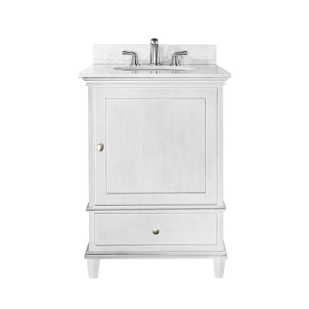 Avanity Windsor 24 Inch Vanity With Carrera White Marble Top And Sink In White Finish Faucet