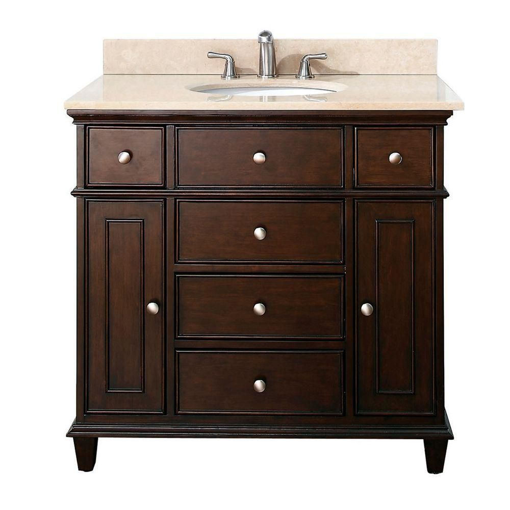 windsor 36 inch vanity with galala beige marble top and sink in walnut