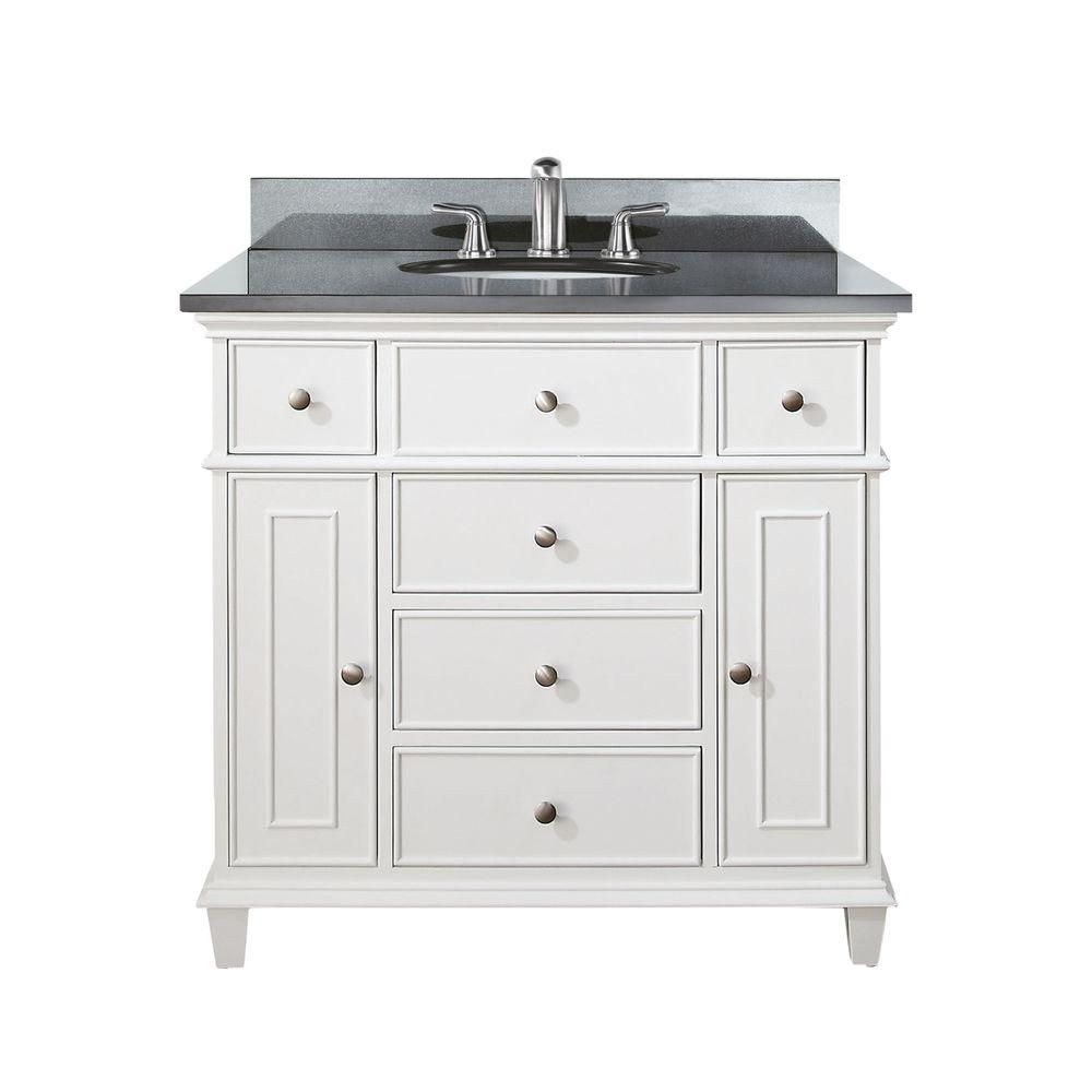 Avanity Windsor 36 Inch Vanity With Black Granite Top And Sink In White Finish Faucet Not
