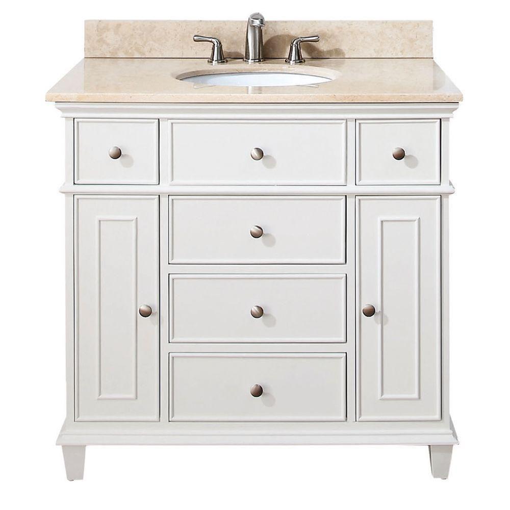 Meuble-lavabo Windsor de 36 po blanc avec lavabo encastré et comptoir en marbre beige au fini Gal...