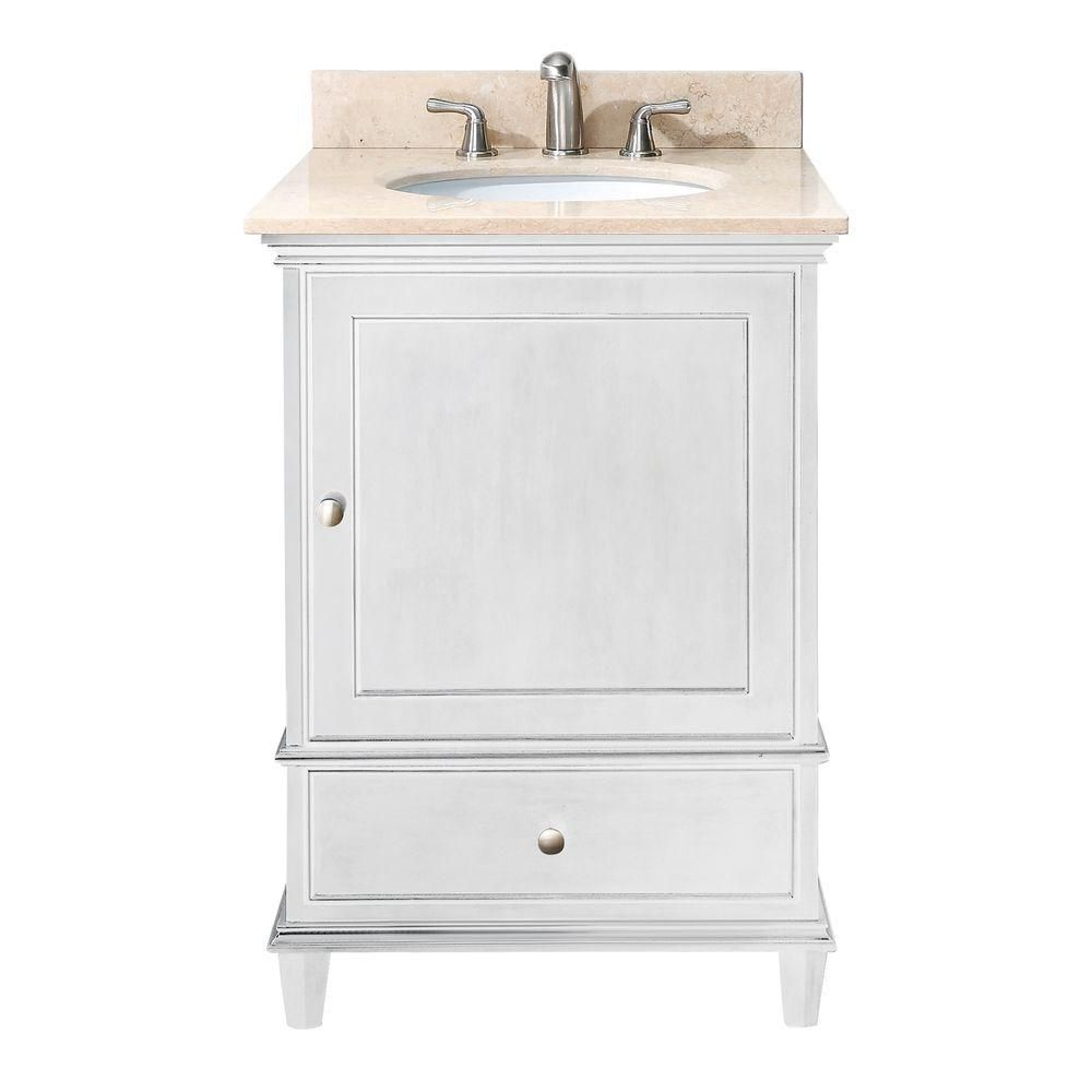 Windsor 24-inch W Vanity with Marble Top in Galala Beige and White Sink