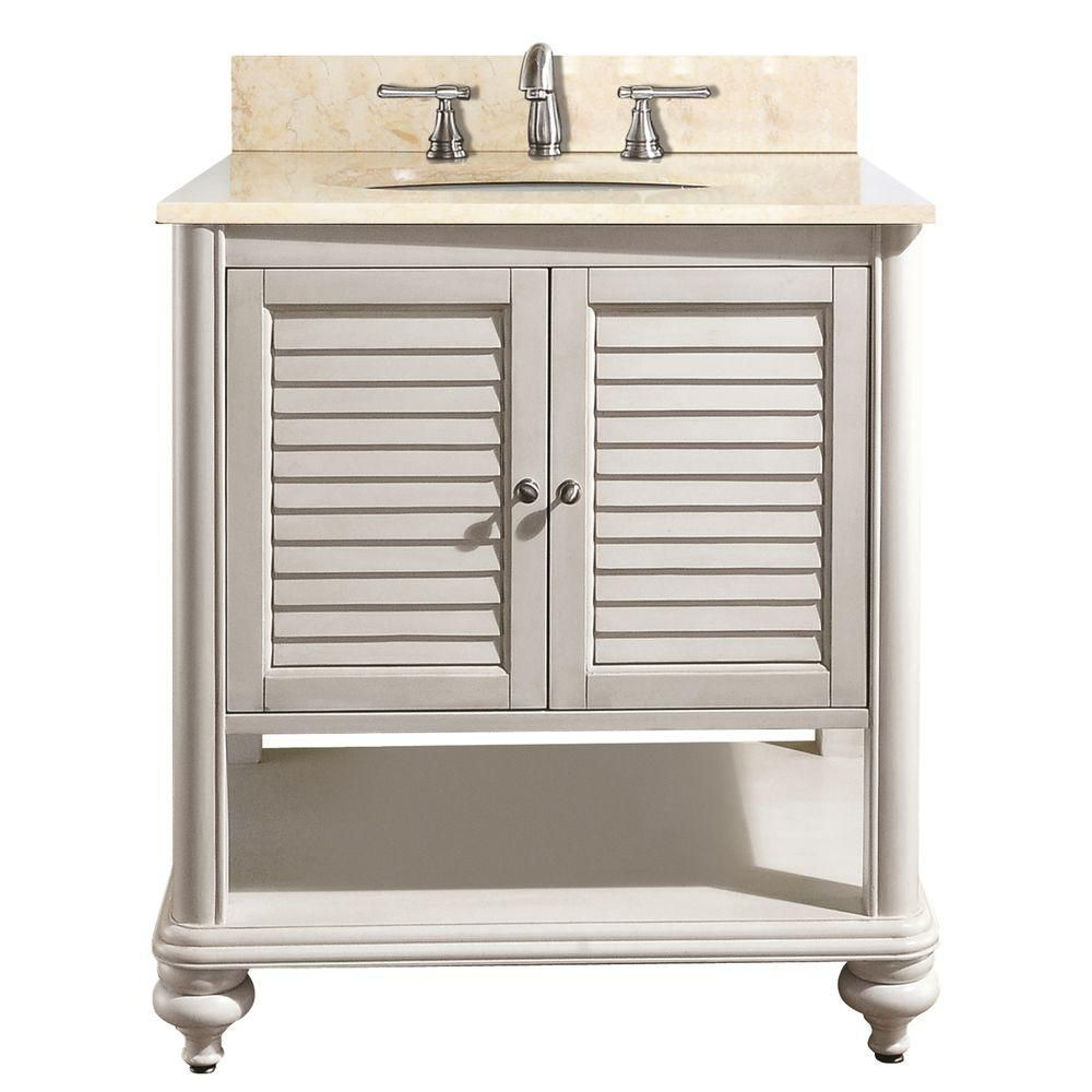Tropica 30-inch W Vanity with Marble Top in Galala Beige and Antique White Sink