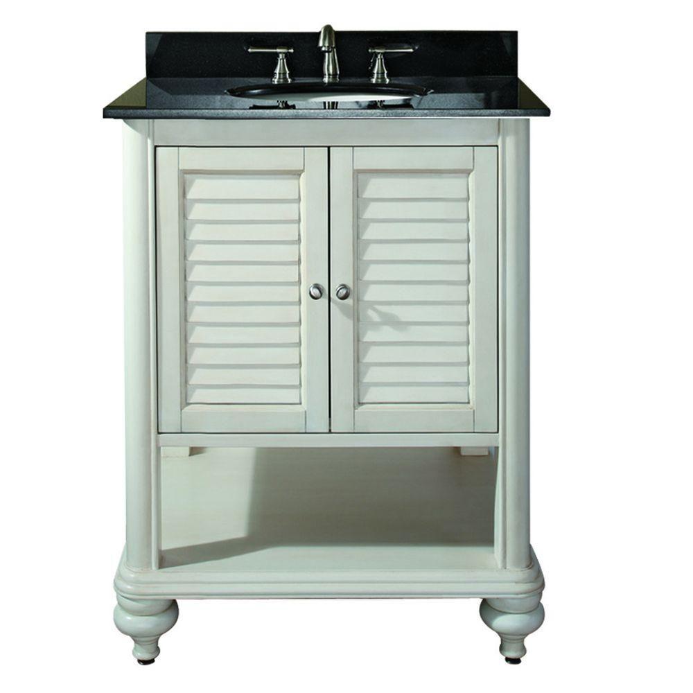 Meuble-lavabo Tropica de 24 po au fini blanc antique avec lavabo et comptoir en granite noir (Rob...