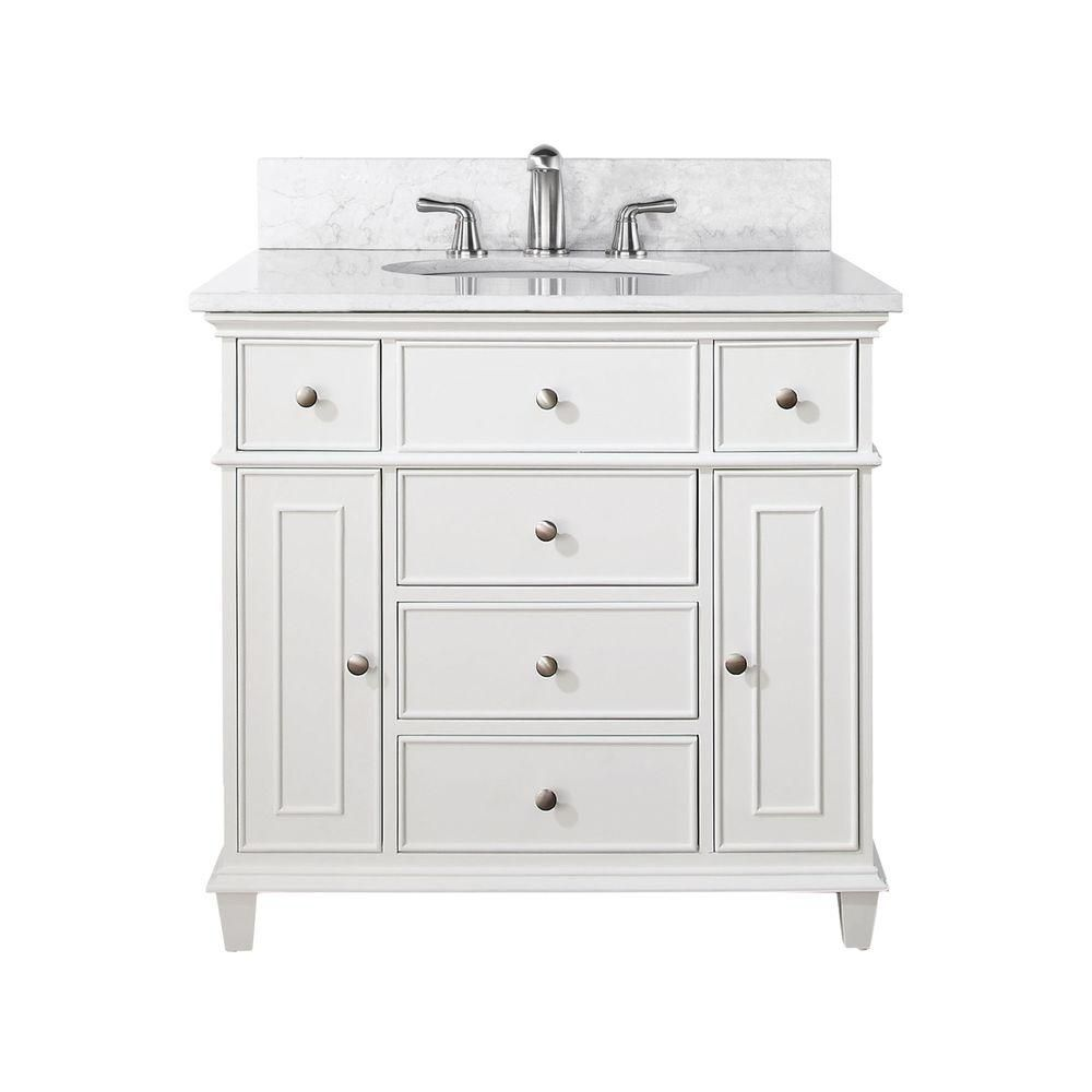 Windsor 36-inch W Vanity in White Finish with Marble Top in Carrara White