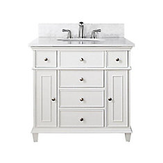 Windsor 37-inch W 5-Drawer Freestanding Vanity in White With Marble Top in White