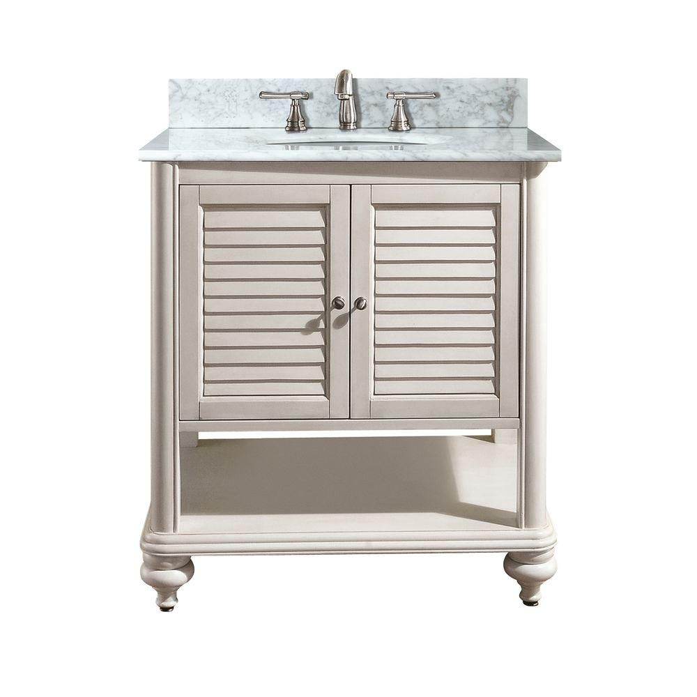 Tropica 24-inch W Vanity in Antique White Finish with Marble Top in Carrara White