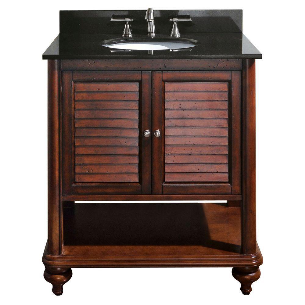 Meuble-lavabo Tropica de 30 po au fini brun antique avec lavabo et comptoir en granite noir (Robi...