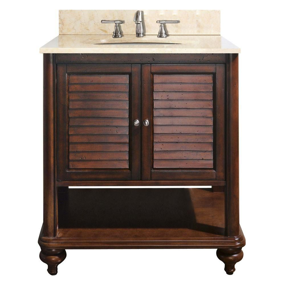 Tropica 30-inch W Vanity with Marble Top in Galala Beige and Antique Brown Sink