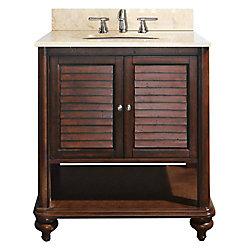 Avanity Tropica 31-inch W Freestanding Vanity in Brown With Marble Top in Beige Tan