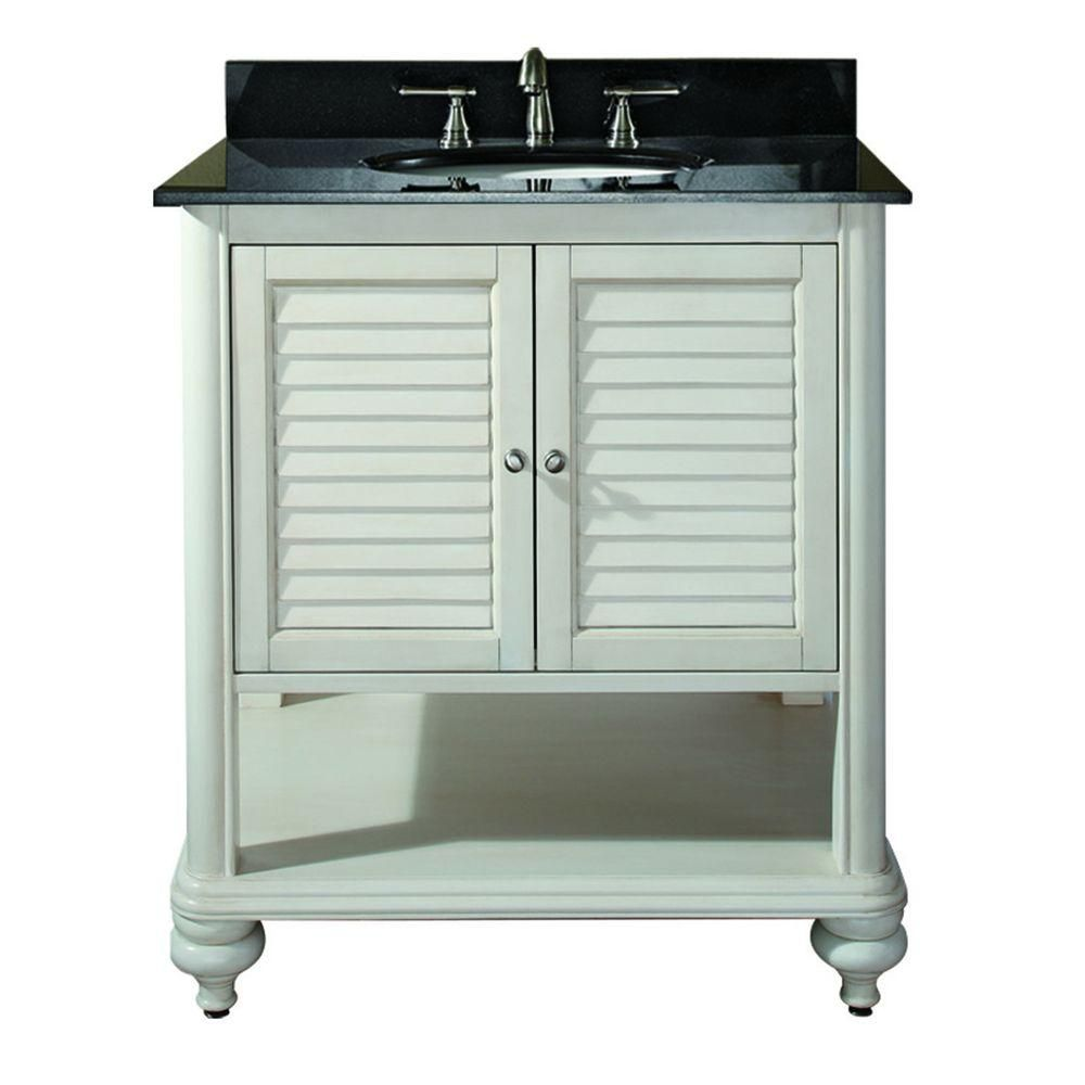 Avanity Tropica 30 Inch W Vanity In Antique White Finish With Granite Top In