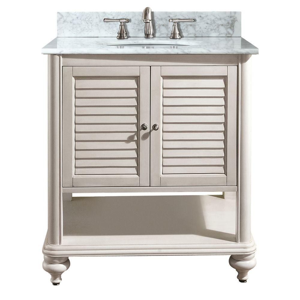 Tropica 30-inch W Vanity with Marble Top in Carrara White and Antique White Sink