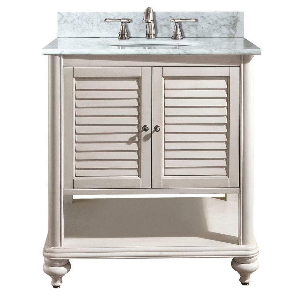 Meuble-lavabo Tropica de 30 po au fini blanc antique avec lavabo et comptoir en marbre de Carrare...