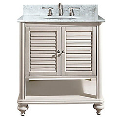 Avanity Tropica 31-inch W Freestanding Vanity in White With Marble Top in White