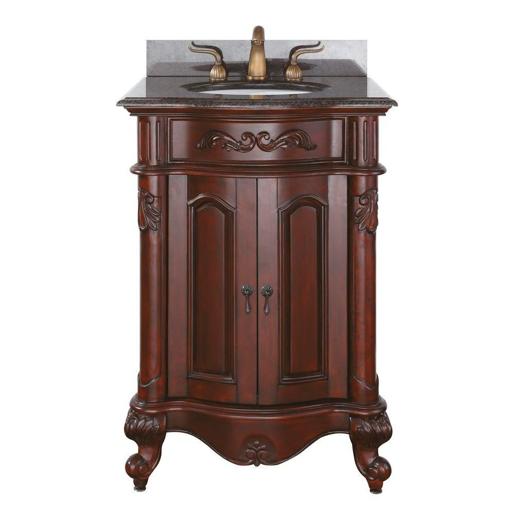 Provence 24-inch W Vanity in Antique Cherry Finish with Granite Top in Imperial Brown