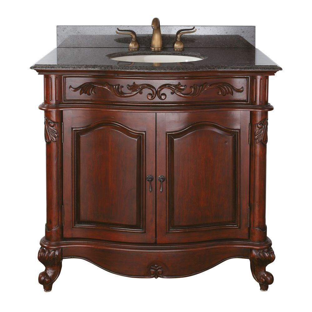 Provence 36-inch W Vanity in Antique Cherry Finish with Granite Top in Imperial Brown