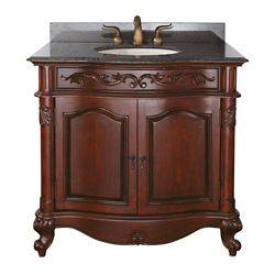 Avanity Provence 37-inch W 1-Drawer Freestanding Vanity in Brown With Granite Top in Brown