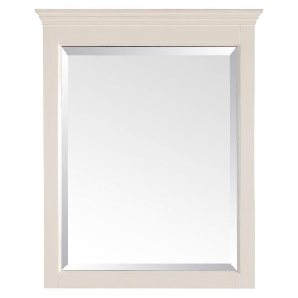 Miroir Tropica de 24po au fini blanc antique