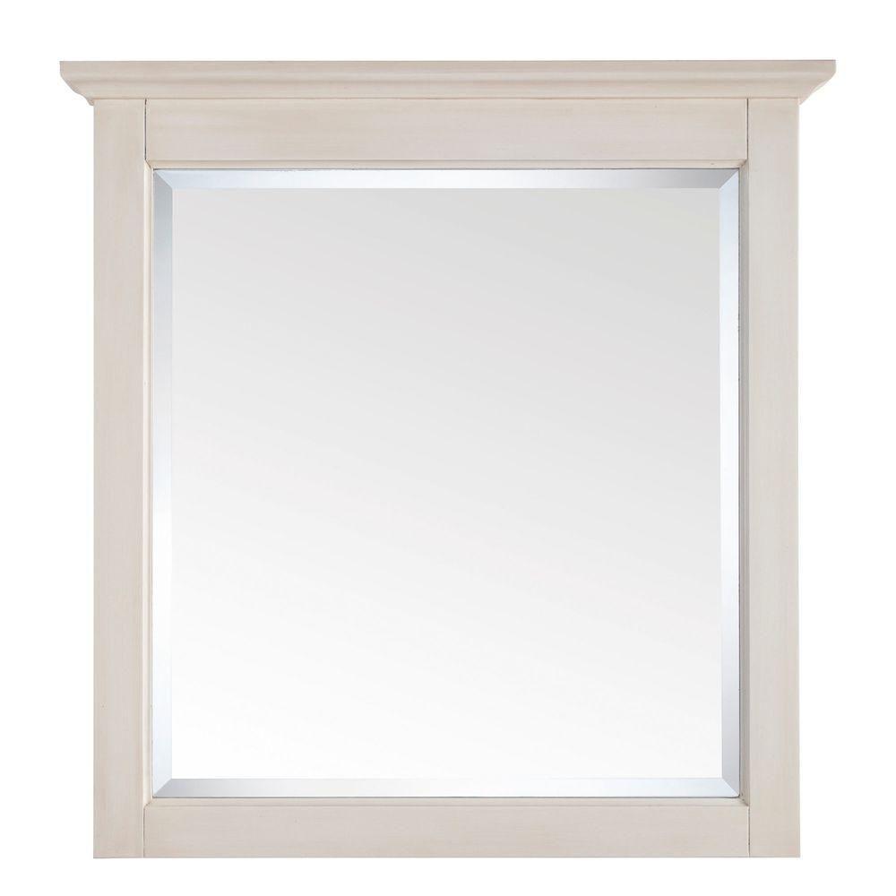 Miroir Tropica de 31po au fini blanc antique