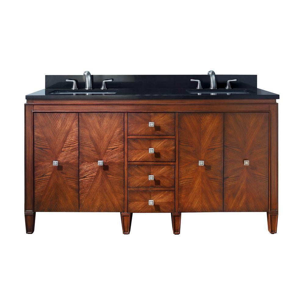 Avanity Brentwood 61-inch W 3-Drawer 4-Door Freestanding Vanity in Brown With Granite Top in Black