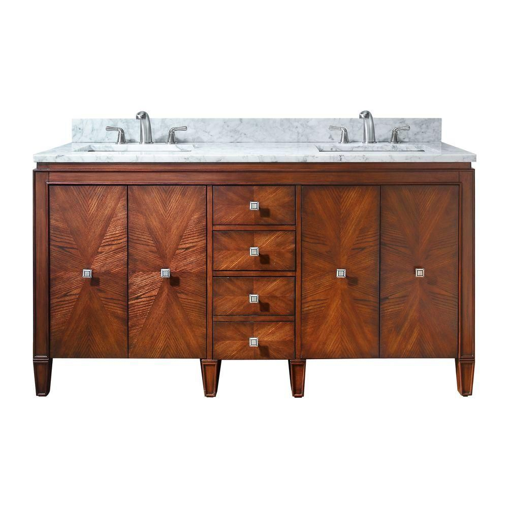 Brentwood 61-inch W Vanity in Walnut Finish with Marble Top in Carrara White