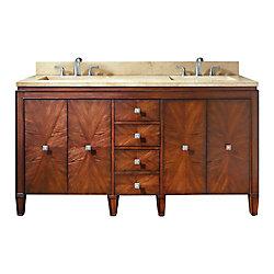 Avanity Brentwood 61-inch W 3-Drawer 4-Door Freestanding Vanity in Brown With Marble Top in Beige Tan