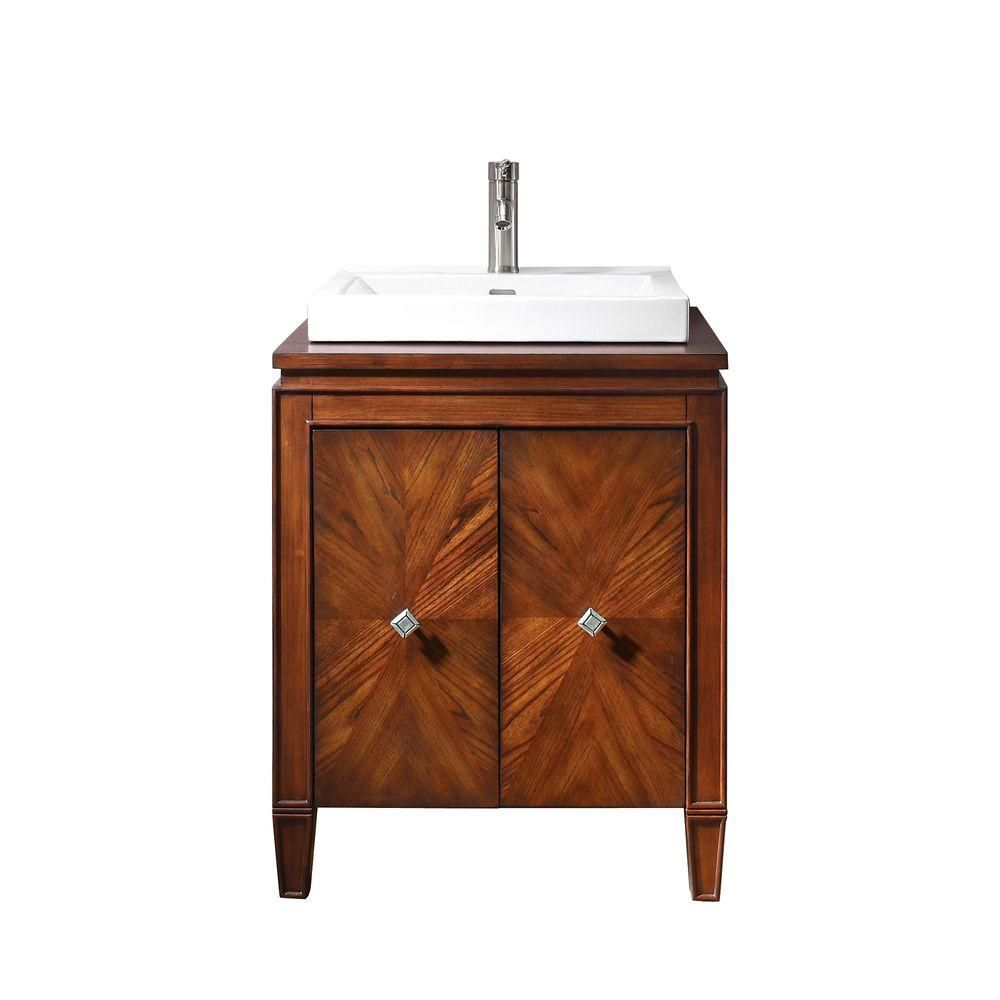 Brentwood 25-inch W Vanity in Walnut Finish with Semi-Recessed Sink