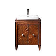Brentwood 25-inch W 2-Door Freestanding Vanity in Brown With Ceramic Top in White