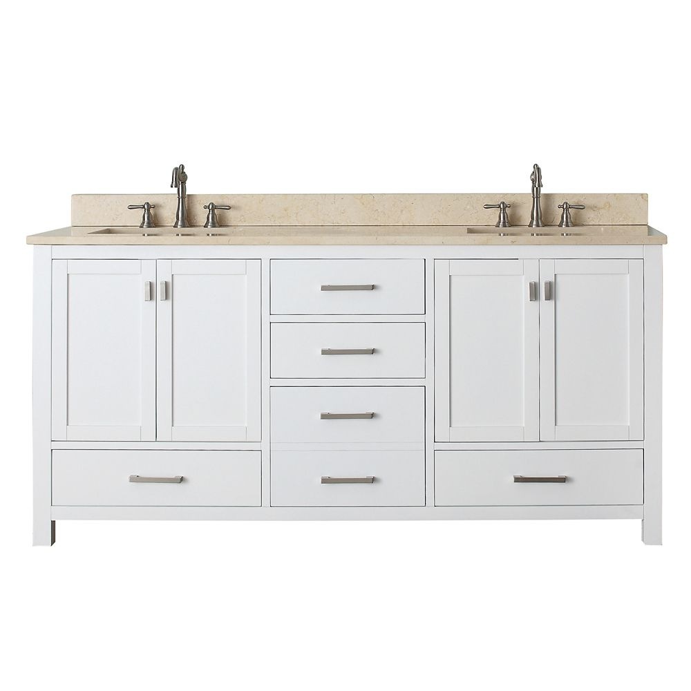 Modero 72-inch W Vanity with Marble Top in Galala Beige and White Double Sinks