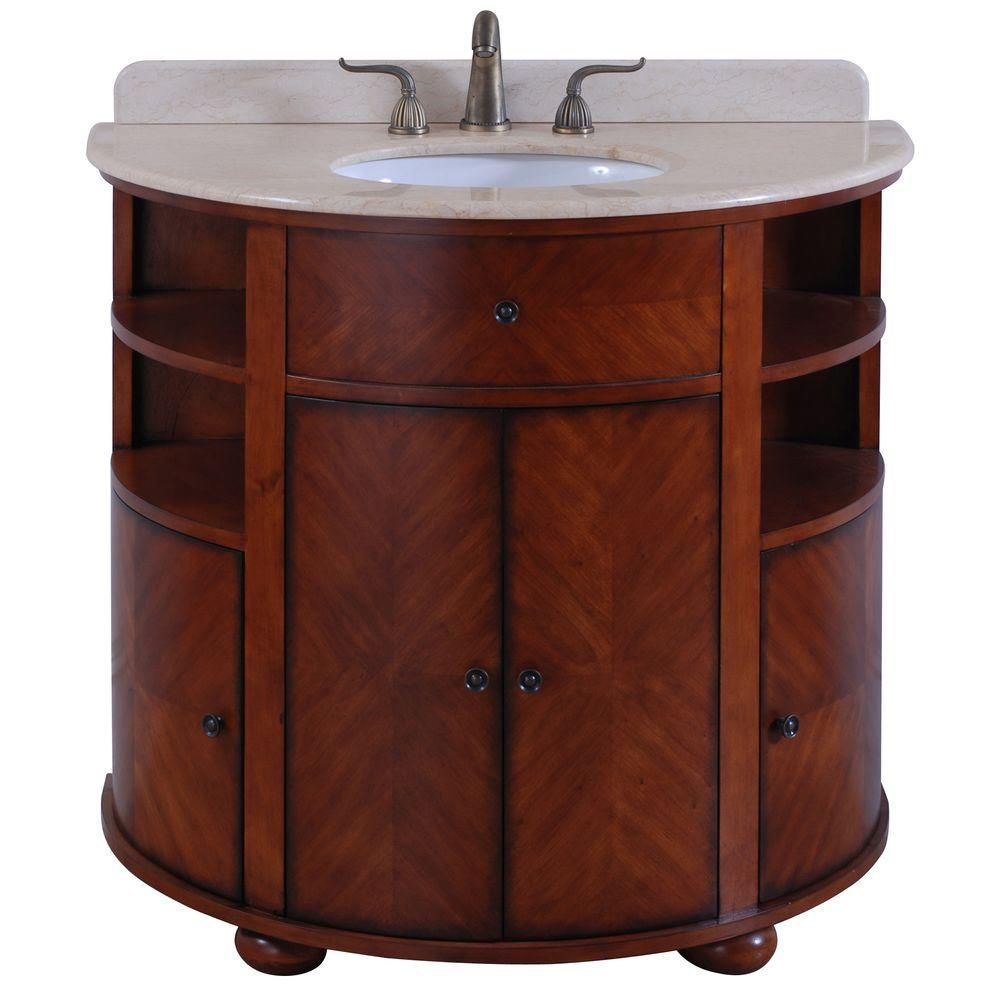 Oxford 38-inch W Vanity in Dark Cherry with Marble Top in Cream and Dark Oak Sink