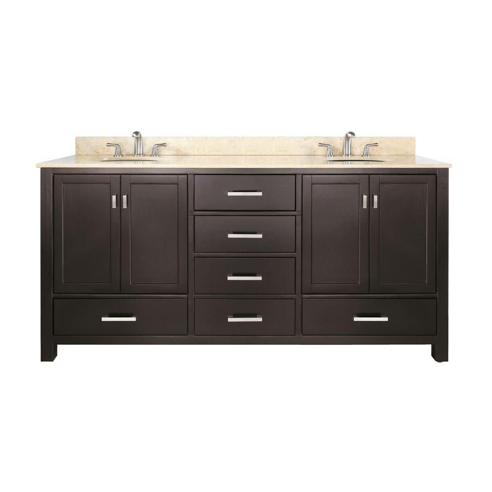 Modero 72-inch W Double Sink Vanity in Espresso Finish with Marble Top in Galala Beige
